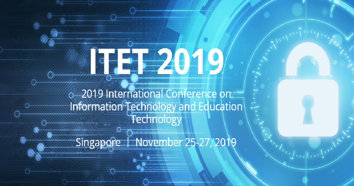 2019 International Conference on Information Technology and Education Technology
