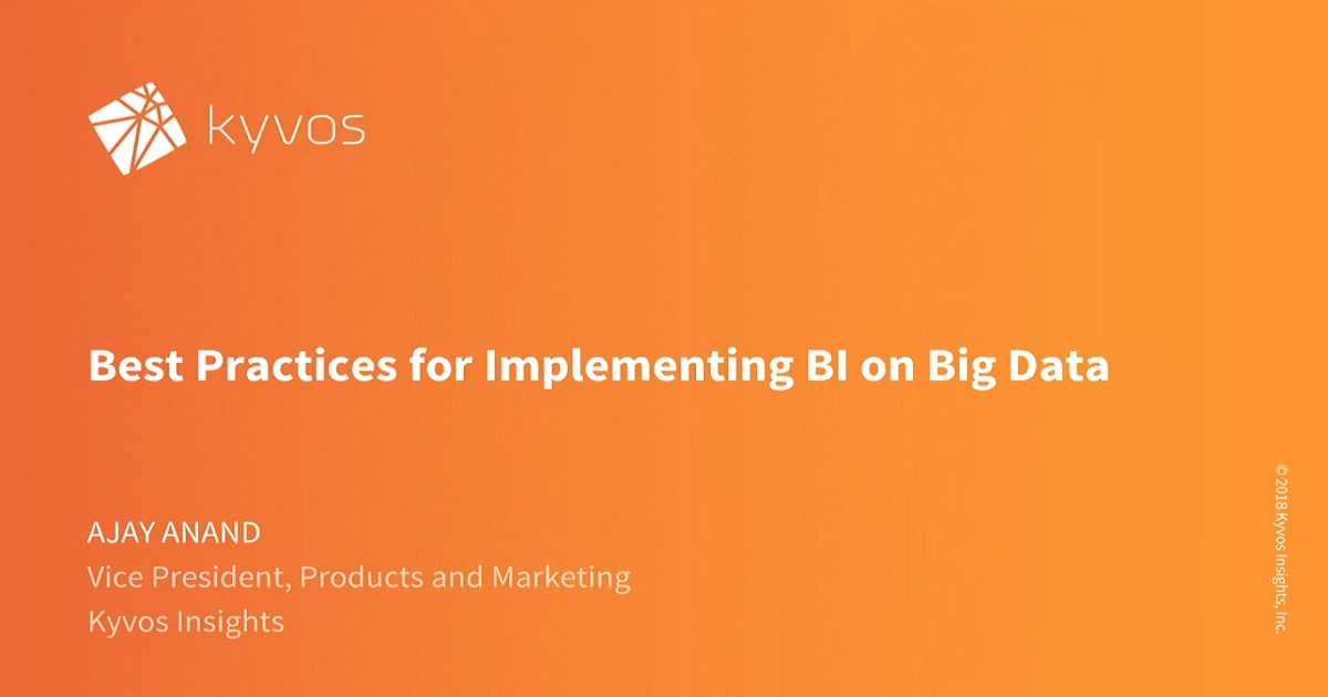 Best Practices for Implementing BI on Big Data
