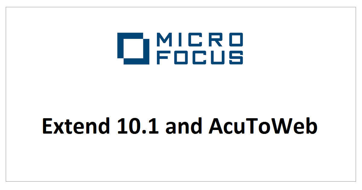 Extend 10.1 and AcuToWeb